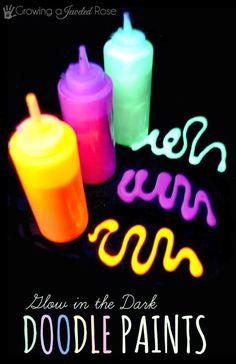 For kids' afraid of the dark program  http://www.growingajeweledrose.com/2013/10/glow-in-dark-doodle-paint-recipe.html