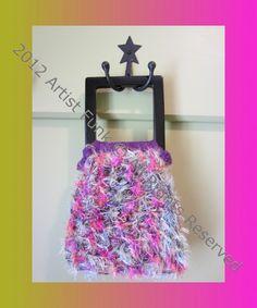 Funky Handmade Handbags - Small - Colorful Pinks, Blues, Purples - Cotton & Fun Fur With A Crocheted Purple Lining. $25.00, via Etsy.