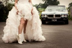 Can we just say WOW to this fabulous shot of bride Hannah in her Lotti Elliot lace wedding ankle boots?