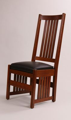 Rare L Jg Stickley Tallback Side Chair With Slats Under Seat Signed Excellent Original Finish 45 H X 19 W 17 D