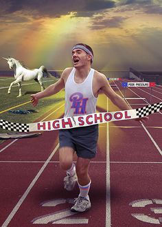 Senior Portrait. It's the Unicorn that makes it so awesome. And the rainbow. And the hurdle that says peer pressure!