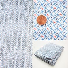"Vtg Antique Cotton Dimity 3+ Yd x 33"" W Blue White Red Tiny Cherry Print Fabric"