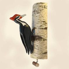 Pull its chain and this handsome woodpecker will peck on its log to announce visitors at your door. It makes a great conversation piece and gift.