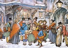 Christmas Choir by Anton Franciscus Pieck (19 April 1895 – 24 November 1987) was a Dutch painter, artist and graphic artist. His works are noted for their nostalgic or fairy tale-like character and are widely popular, appearing regularly on cards and calendars.