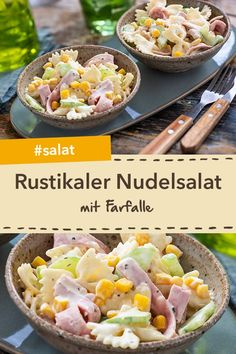 Schneller Party-Salat: Rustikaler Nudelsalat mit Mais, Salatgurke und gekochtem … Quick party salad: Rustic pasta salad with corn, cucumber and cooked ham – simply prepared and delicious! Slow Cooker Recipes, Beef Recipes, Snack Recipes, Cooking Recipes, Healthy Recipes, Party Salads, Beet Salad Recipes, Best Pasta Salad, Shrimp Recipes