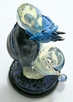 Blue and Black DRAGON pipe bubbler glass pipe by DeMatteoART, $70.00