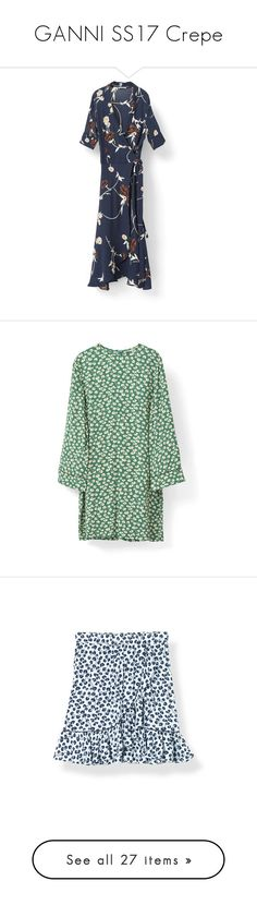 """""""GANNI SS17 Crepe"""" by ganniofficial ❤ liked on Polyvore featuring dresses, tea dress, tea party dresses, crepe dress, frilly dresses, flutter sleeve dress, green crepe dress, loose sleeve dress, loose fitted dresses and zipper dress"""