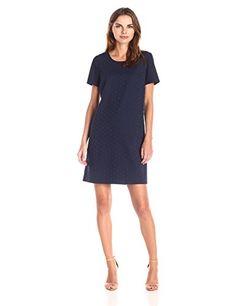 f7355bec Lark & Ro Women's Short Sleeve Eyelet Shift Dress, Navy, X-Small at Amazon Women's  Clothing store: