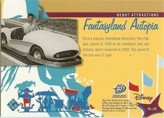 Collectible Disneyland 50th Autopia trading card.