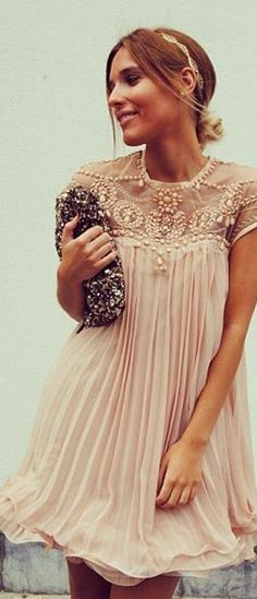 Apricot Pink Plain Beading Pleated Cap Sleeve Chiffon Dress