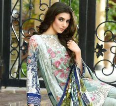 Firdous Lawn Eid Collection 2017 Designs with Embroidery Fabric
