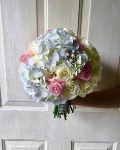 CBR349 weddings Riviera Maya hydrangea and roses bouquet pink and white/ ramo de hortensias y rosas blanco y rosa