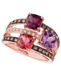 Le Vian Multistone and Diamond Ring in 14k Rose Gold (3/8 ct. t.w.)