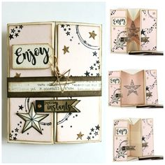 Collage_boite_Isa et son tuto avec nouvelle capsule de FD de 01-2017 Scrapbooking, Capsule, Mini Books, Mini Albums, Deco, Cardmaking, Birthday Cards, Gallery Wall, Creations
