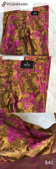 """Versace Snakeskin Print Jeans size 32 / 46 Preowned authentic Versace Snakeskin Print Jeans size 32 / 46. Inseam is 31"""" inches. Rise is 8.5"""" inches. Waist is 15"""" inches laying flat. Fabric stretches. Fabric blend is 98% cotton and 2% other fibers. Left pockets needs some stitching and is shown in picture. Please look at pictures for better reference. Happy shopping! Versace Jeans"""