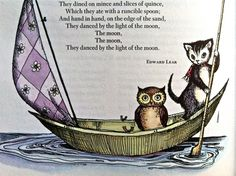 The Owl and the Pussy Cat - A page from the 1959 Golden Treasury of Poetry illustrated by Joan Walsh Anglund