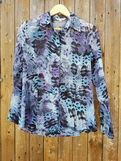 CAbi Style #609 Size Small Flowy Python Print Long Sleeve Button Down Top Shirt #cAbi #ButtonDownShirt