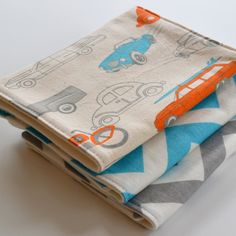 Baby Boy Burp Cloth Gift Set . Eco-Organic . Shower Gift . Surf Mobiles, Aqua and Gray Chevron. $24.00, via Etsy.
