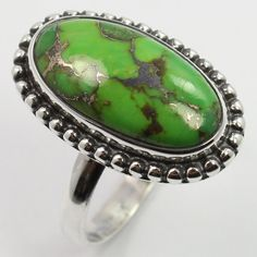 Tribal Art Ring Size US 7.75 GREEN COPPER TURQUOISE Gemstone 925 Sterling Silver #SunriseJewellers