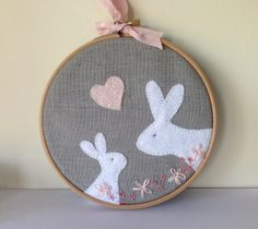 Pink, grey and white embroidered rabbit picture £15.00