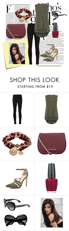 """""""October Fest"""" by mildred-paz ❤ liked on Polyvore featuring Nicki Minaj, Post-It, J Brand, Oasis, Bee Charming, MICHAEL Michael Kors, River Island, OPI, Ray-Ban and Revlon"""