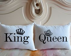 Personalized King & Queen pillow covers couple by CreativePillow