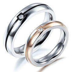 BOBIJOO Jewelry - Alliance Bague Anneau Or Rose Noir Mariage Zirconium Couple Au Choix