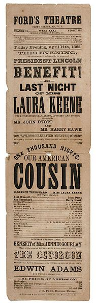 Souvenir Edition printed shortly after Lincoln's Assassination of Ford's  Theatre Handbill (c. approx. April 14, 1865).
