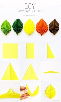 Save this easy DIY paper leaf tutorial and make cute decorations for fall or Thanksgiving.We've always wanted to build origami shapes, but it looked too hard to learn. Turns out we were wrong, we found these awesome origami shapes.Image gallery – P Paper Flowers Craft, Paper Crafts Origami, Origami Paper, Flower Crafts, Diy Flowers, Diy Paper, Paper Art, Oragami Flowers Easy, Origami Flowers Tutorial