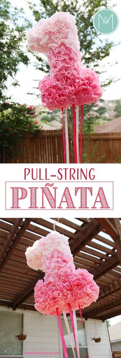 DIY Pull-String Piñata with coffee filters. You can always request a custom… Baby First Birthday, First Birthday Parties, First Birthdays, Diy Party Decorations, Birthday Decorations, Coffee Filter Crafts, Coffee Filters, Diy Piñata, Birthday Pinata