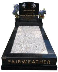 Fairweather – Springvale- Fully polished memorial headstone over full monument type cemetery memorial created in Silver Pearl Black with a concrete top cover slab & Italian white marble pebbles. B G Black Indian Granite headstone with portrait of dearly .