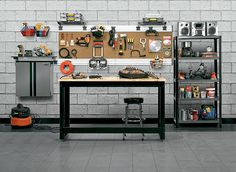 • For the occasional DIYer, a wall-mount fold-down model (such as the Ideal Wall-Mount Workbench, about $300; sears.com) offers a sturdy surface and tucks out of the way when not in use. • Benches that have built-in tool drawers can be pricey. Instead, flank a simple worktable with shelves and add pegboard above to hold your gear. • A set of casters turns any table into a mobile workstation; make sure they don't create an uncomfortably tall table. • Finish it off with a padded stool (suc...