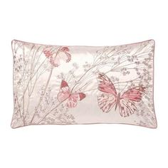 Add a refreshing touch to your bedding with our printed boudoir cushion, featuring floral and butterfly designs with contrasting dark pink piping the hollowfibre filling can add a comfy finish to your bed linen. Butterfly Cushion, Pink Butterfly, Butterfly Design, Cheap Bedding Sets, Bedding Sets Online, Blush Cushions, Black Dining Room Chairs, Pink Chairs, King Sheets
