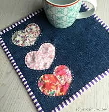 strawberry applique mug rug - Google Search