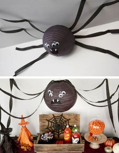 Paper Lantern Spider & Click Pic for 20 DIY Halloween Decorations for Kids to Make & Cheap and Easy Halloween Decorations on a Budget: Video Halloween, Soirée Halloween, Adornos Halloween, Holidays Halloween, Halloween Makeup, Women Halloween, Halloween Costumes, Outdoor Halloween, Halloween College