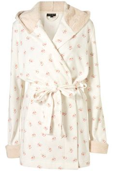 Fleece Floral Print Robe