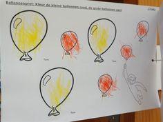kleur de grote ballonnen geel en de kleine ballonnen rood
