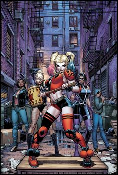 """""""Harley Quinn and the Birds of Prey"""" variant cover (pencils by Arthur Adams colours by Sabine Rich) Harley Quinn Cosplay, Joker And Harley Quinn, Dc Comics Art, Comics Girls, Xmen Comics, Female Villains, Female Characters, Harey Quinn, Gotham Girls"""