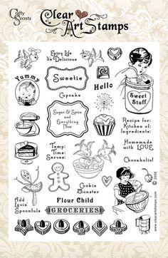 Vintage style kitchen art stamps