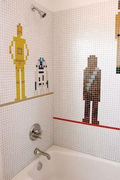 Coolest bathroom tile ever! Star Wars!