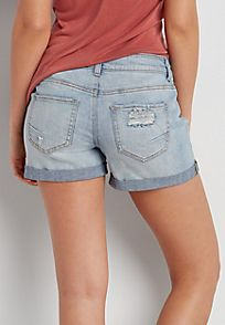 Ellie light wash shorts with destruction and button closure - alternate image