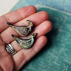 kylie parry studios: Inspired by...Costa Rica. Ceramic tribal folk bird charms.