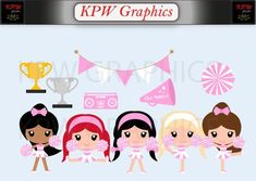 Pink and White Cheerleader Clip-art Set in a PNG format. Personal & Small Commercial use Cheerleader Clipart, School Projects, Cheerleading, Business Cards, Blue And White, Clip Art, Scrapbook, Invitations, Dolls