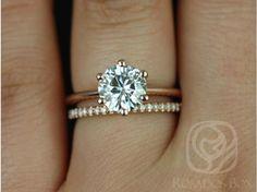 Rosados Box Skinny Webster 7.5mm & Kimberly Rose Gold Round FB Moissanite Six-Prong Webbed Wedding Set