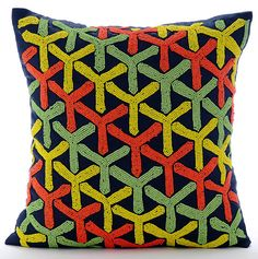 Whirlwind Fun -  16 x 16 Inches Multi Colored Bead Embroidered Navy Blue Linen Throw Pillow.
