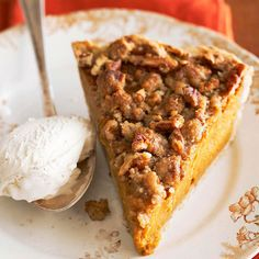 Apple butter adds sweetness to this pumpkin pie while streusel topping adds crunch. More pumpkin pie recipes: http://www.bhg.com/recipes/desserts/pies/pumpkin-pie-recipes/?socsrc=bhgpin091713pumpkinpie#page=20