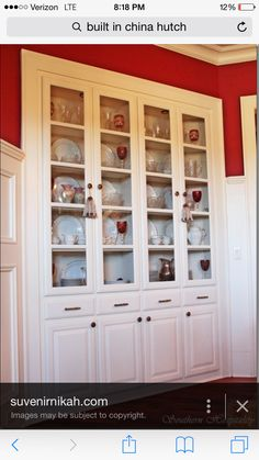 Built In Dining Hutch M With Pretty Glasses Up Front