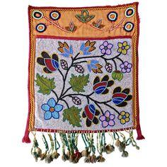 19th Century Native American Bandolier Beaded Bag, Great Lakes, circa 1890
