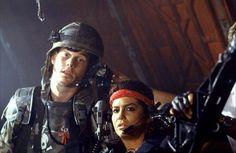 Bill Paxton & Jeanette Goldstein as Hudson % Vasquez in #Aliens (1986)