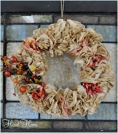 Coffee Filter Wreath with autumn colors from All Things Heart and Home